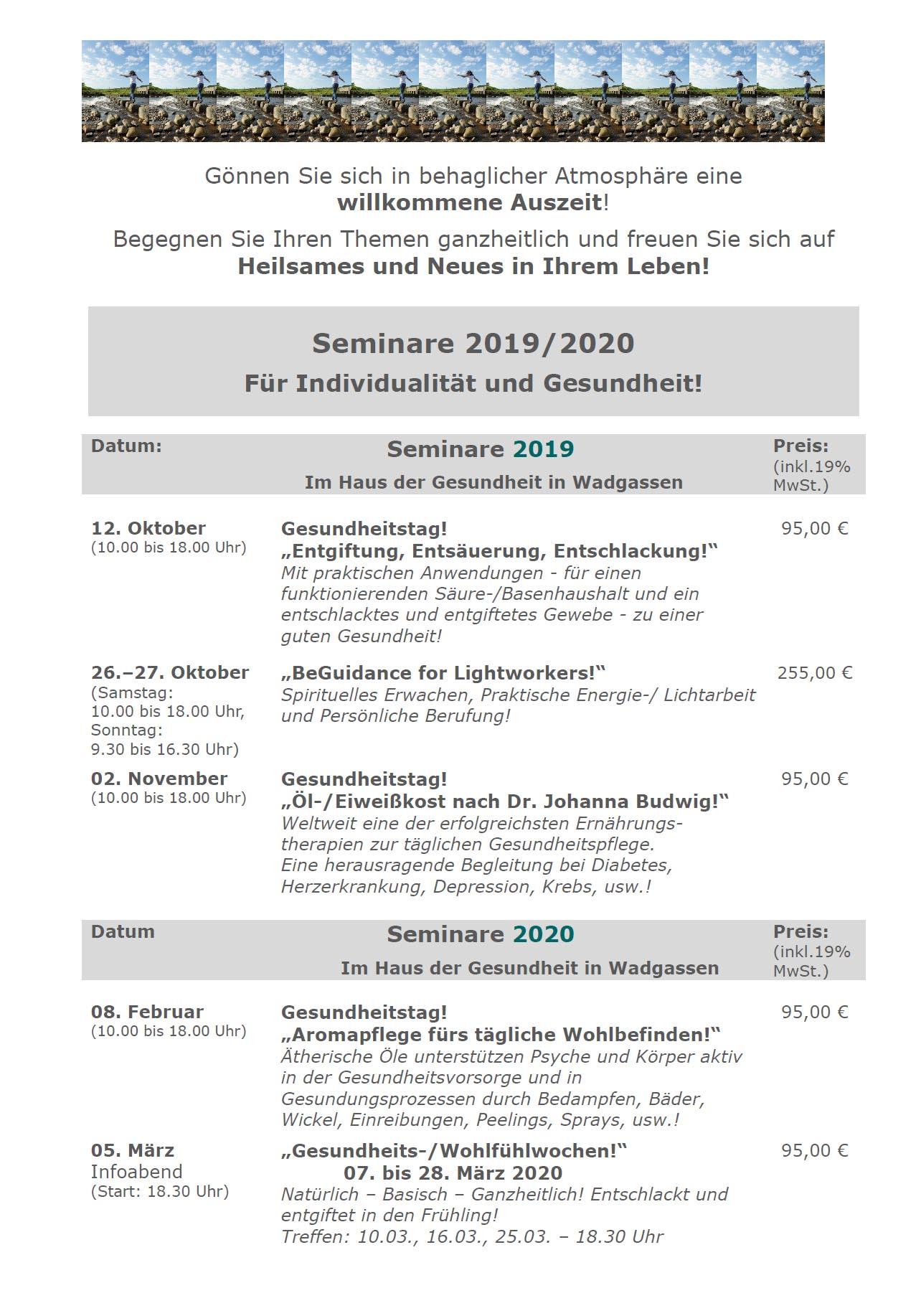 Seminartermine 2019 und 2020